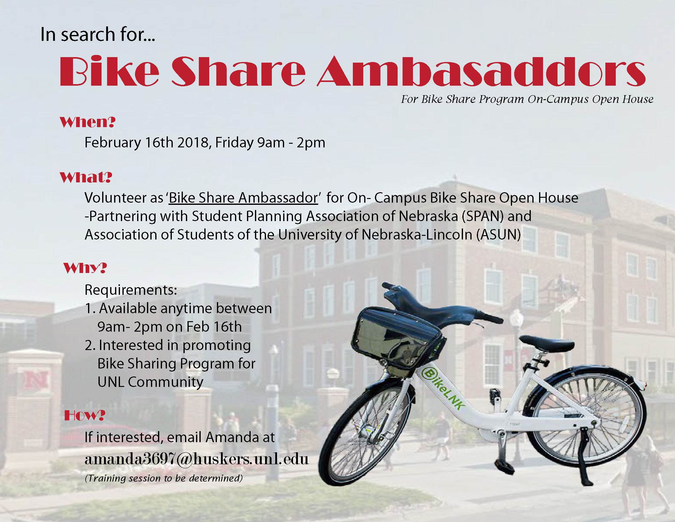 Volunteering Opportunity as Bike Share Ambassadors