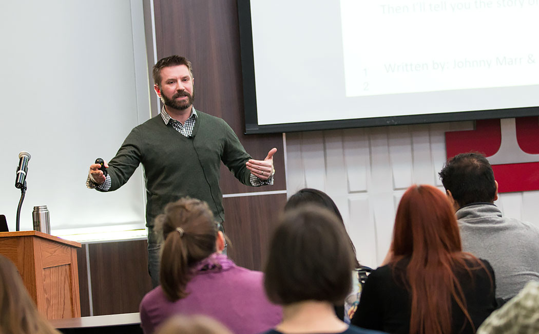 Matt Fritz, assistant professor of educational psychology, leads a Methodology Applications Series presentation Jan. 26 in the Nebraska Union.