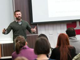 Matt Fritz, assistant professor of educational psychology, leads a Methodology Applications Series presentation Jan. 26 in the Nebraska Union.