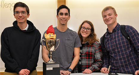 The winning team, novocAI, from left to right: Joshua Jones, Trevor Fellbaum, Jenny Wynn and Jon Pynes. Photo courtesy of the College of Business.