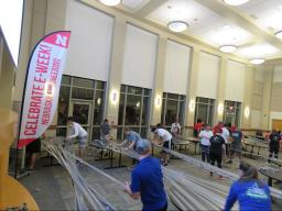 Students showcase their creativity and engineering skills at the design competition, trying to build the strongest duct tape bridges. Photo courtesy of the College of Engineering.