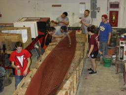 ASCE Concrete Canoe Team working to prepare its 2018 competition vessel.