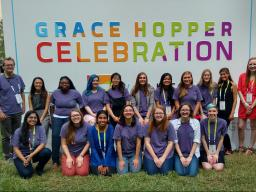 CSE students and department chair Matthew Dwyer at the 2017 Grace Hopper Celebration of Women in Computing.
