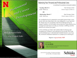 Balancing Your Personal and Professional Lives a workshop for postdocs and grad students