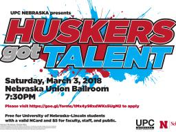 Come watch your fellow huskers showcase their talents for a chance to win $500 cash!!!