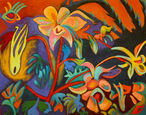 """James' Flowers"" by Cindia Carlson-Tsuda, a program associate with the Nebraska Center for Materials and Nanoscience."