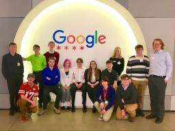 CSE Learning Community students and Recruitment and Retention Coordinator Jenna Huttenmaier pose on their tour of Google in Chicago with CSE alum Matt Bergh.