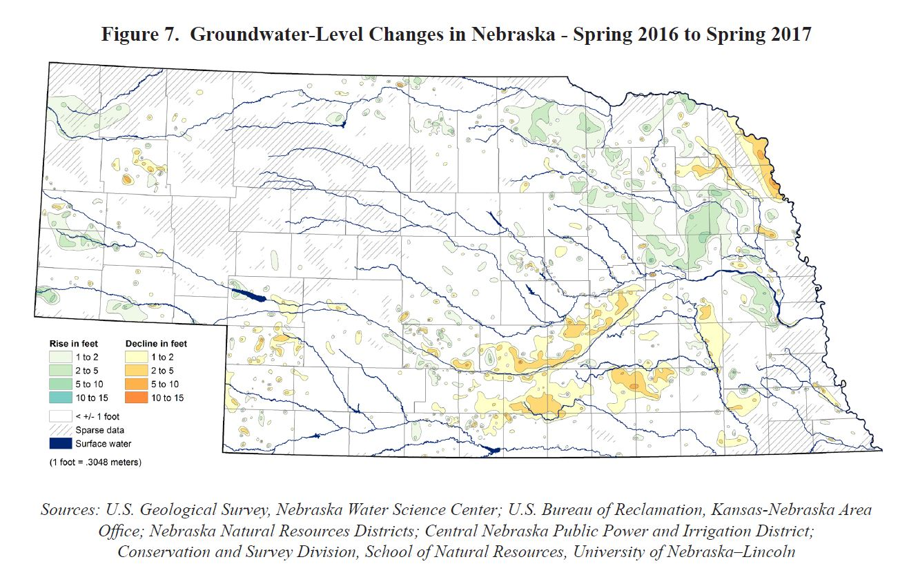 This map comparing groundwater levels in Spring 2016 and Spring 2017 is included in this year's groundwater report now available at Maps & More Store. | Courtesy Aaron Young