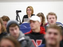 Marilyne Stains, associate professor of chemistry, watches a class at the University of Nebraska-Lincoln. Stains and her colleagues have authored a new study showing that traditional lecturing remains the most common teaching style for undergrad classes i