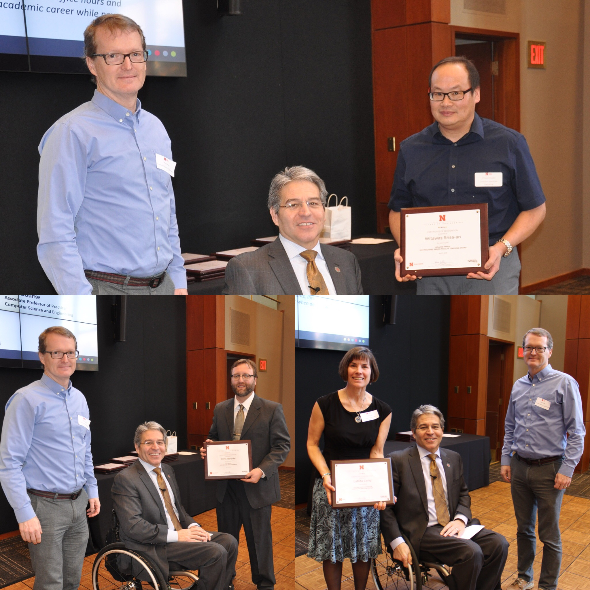 Award winners Witawas Srisa-An, Chris Bourke, and LaRita Lang pose with department chair Matthew Dwyer and interim dean Lance Perez at the College of Engineering Employee Luncheon and Awards Recognition Ceremony last week.