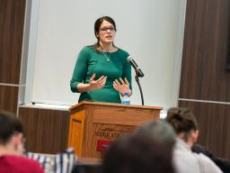 Ann Arthur, graduate research assistant in educational psychology, leads a March 30 Methodology Applications Series presentation.