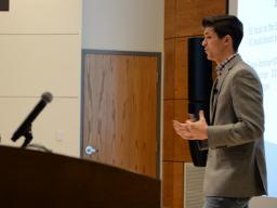 Joseph Brugger (left) and Matthew Brugger (right) pitch their company, Upstream Farms, to judges during the final round of the New Venture Competition. The brothers were co-champions of the competition and won $25,000.