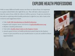 Explore Health Professions!