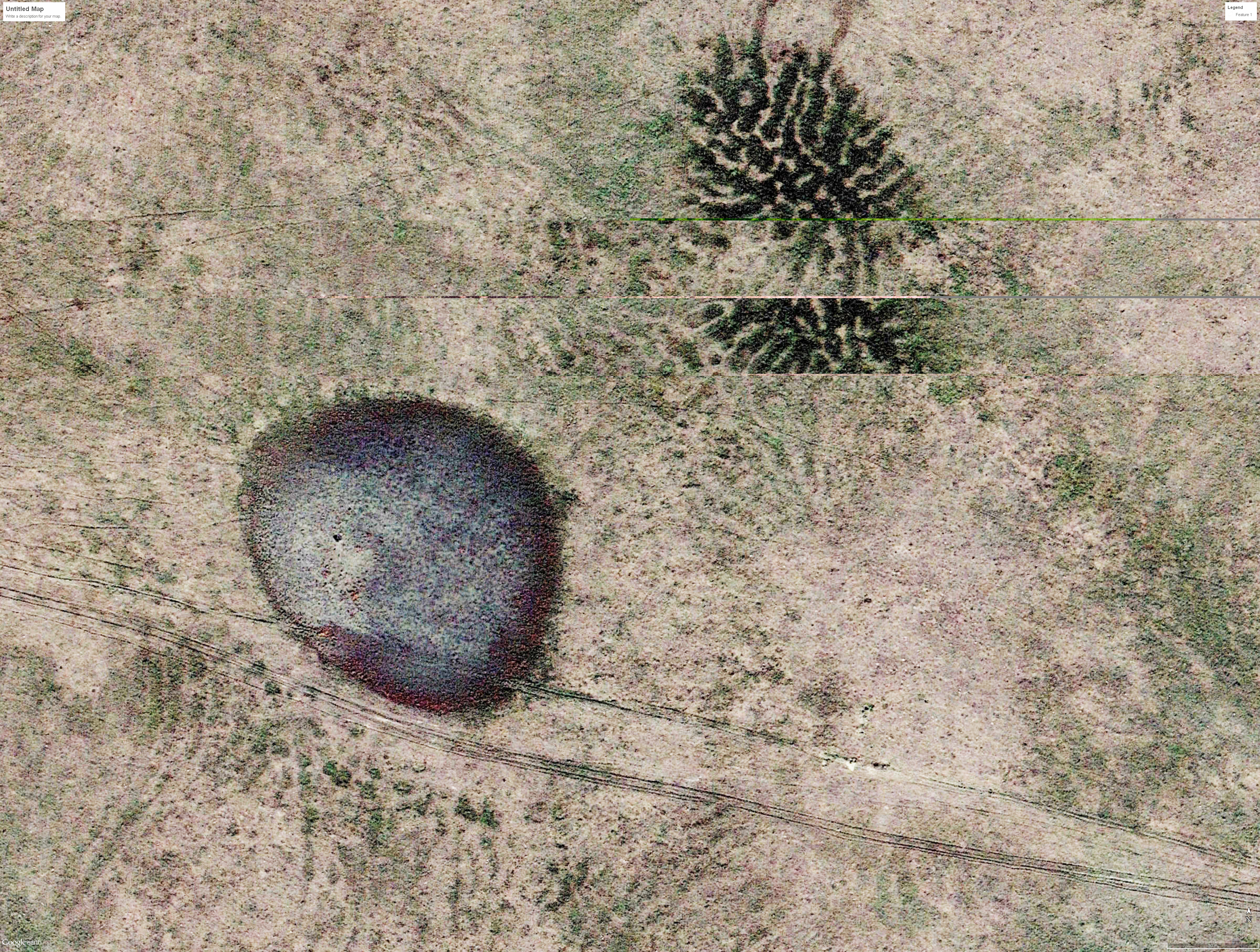 This image from Google Earth shows gilgai in the Panhandle of Nebraska; the field of view in the photo is approximately a quarter-mile wide.