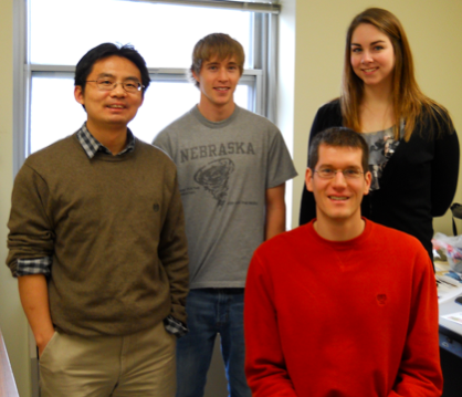 Pictured (clockwise, from left) is Jun Wang, Jacob Anderson, Amy Gehring and David Peterson.