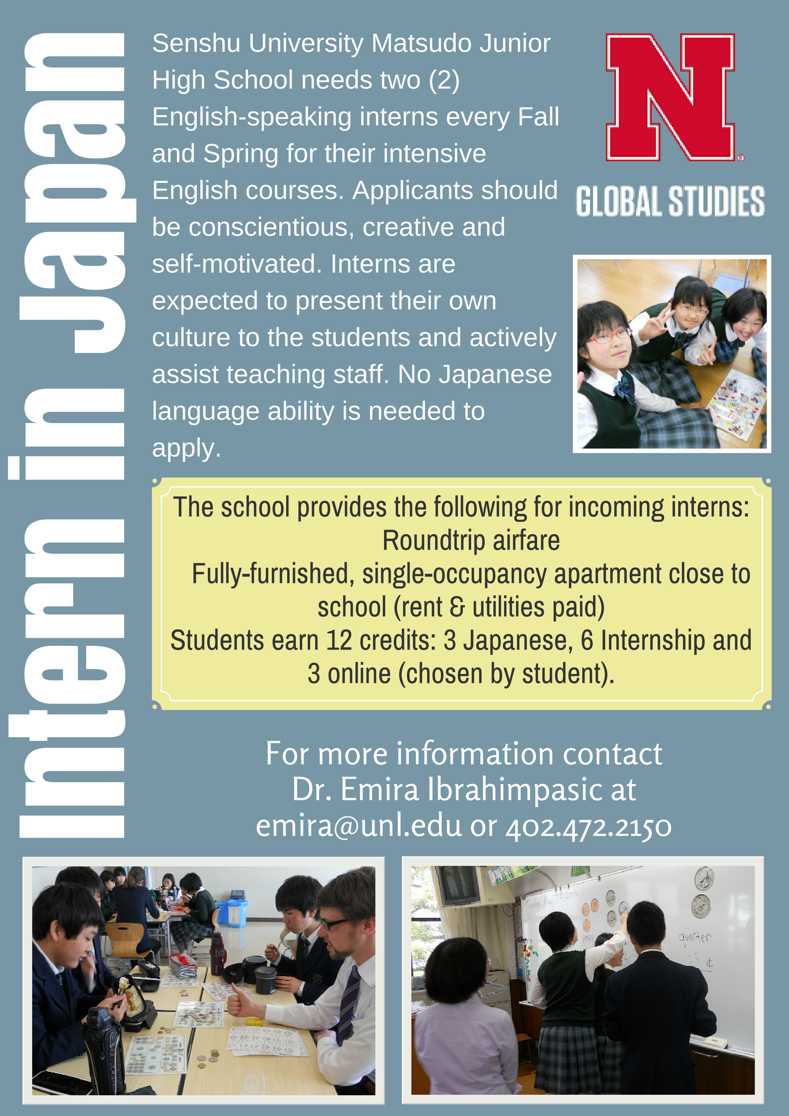 Intern in Japan during Spring 2019