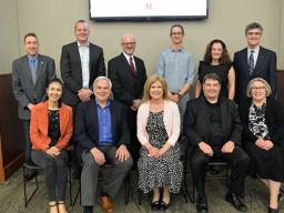Back row, left to right:  Todd Cuddy, Dave Hall, Richard Endacott, Drew Davis, Colleen Syron and Chuck O'Connor. Front row, left to right: Hye-Won Hwang, Brian Moore, Brenda Wristen, Tony Falcone and Jan Deaton. Not pictured: Rhonda Fuelberth.