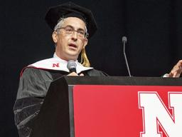 Oscar-winning filmmaker Alexander Payne delivered the undergraduate commencement address on May 5, 2018, at Pinnacle Bank Arena. Photo by Craig Chandler, University Communication.