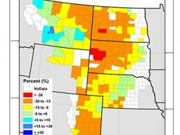 Grass-Cast, a new ARS rangeland grazing forecast system, can predict that if May, June and July precipitation is below normal in South Dakota, the counties will be expected to have 5 to 15 percent fewer pounds per vegetation acre of than its 36-year avera