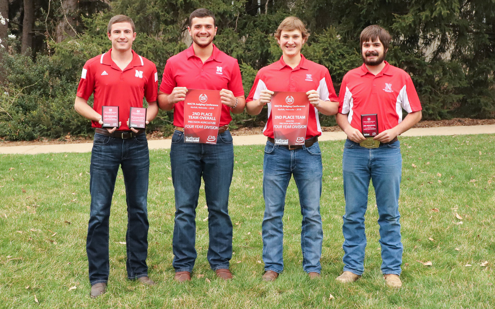 Team members Mitch Zobel (from left), Jake Krings, Bryant Biskup and Rodger Farr placed second in the Precision Agriculture contest.