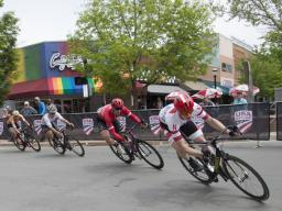 John Borstelmann, a junior chemistry major from Lincoln, leads the pack during a race at the USA Cycling Collegiate Road National Championships, May 4-6 in Grand Junction, Colorado. Borstelmann won the men's Club Division national championship. (Photo by