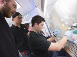 Nebraska students work in a biological systems engineering lab on campus.