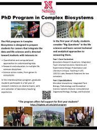 Complex Biosystems PhD program flier
