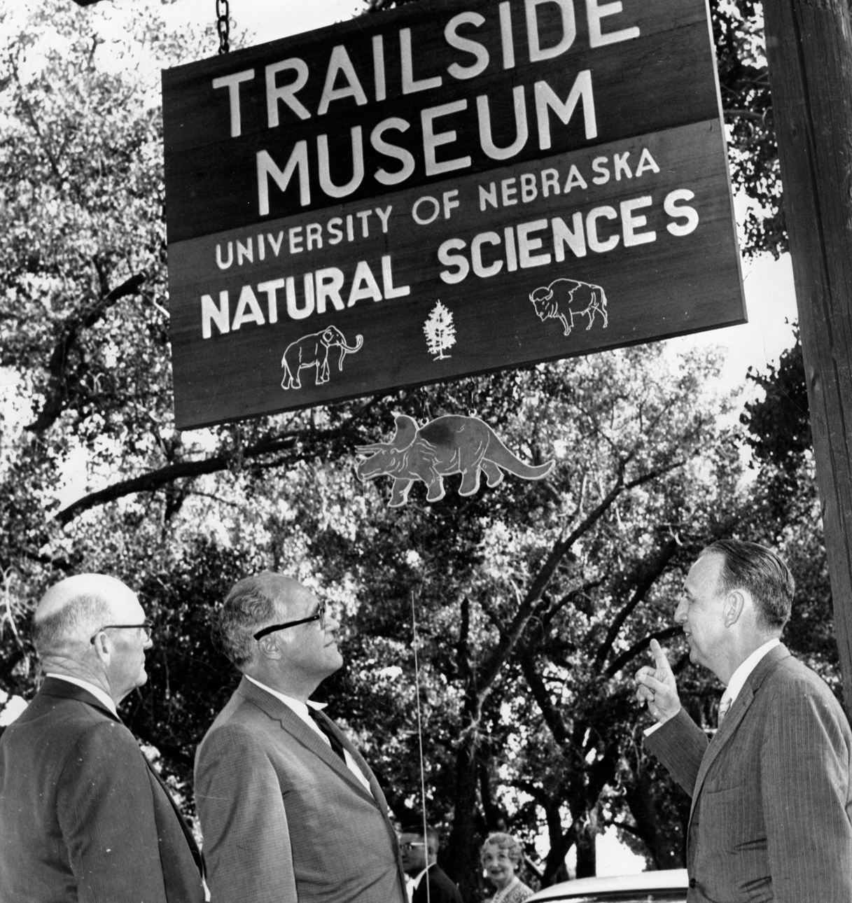 The grand opening of Trailside Museum in June 1961: from left, state senator George Gerdes, Gov. Frank B. Morrison, State Museum Director C. Bertrand Schultz