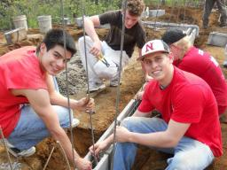 Nebraska students participate in a service project building earthquake resistant homes in Guatemala.
