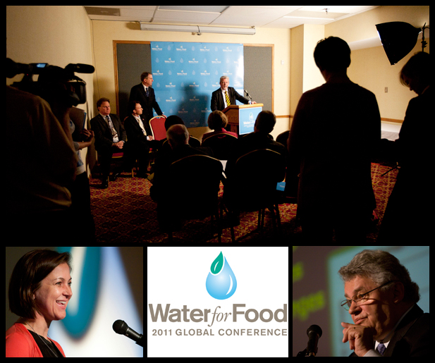 (Top, from left) Ken Cassman, John Gates, James B. Milliken and Anders Berntell visit with reporters during the global Water for Food conference on May 3; (bottom left) Julia Bucknall; (bottom right) Andras Szollosi-Nagy.