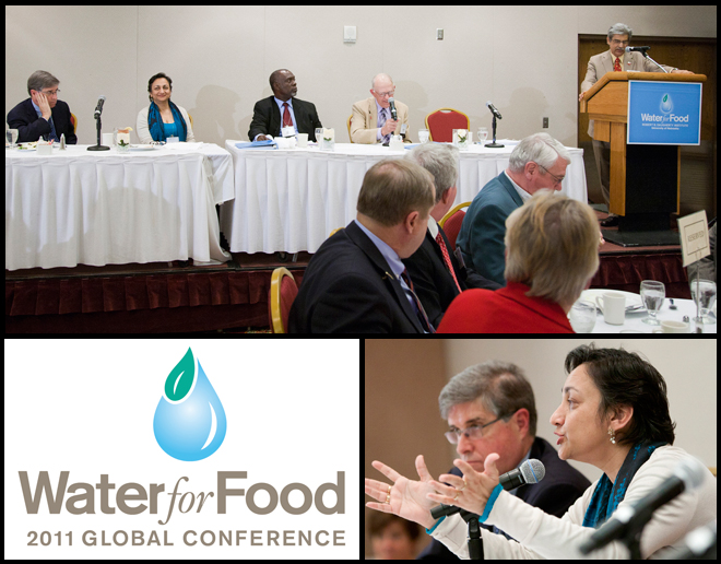 (Top) UNL's Prem Paul talks during the May 4 closing panel of the 2011 global Water for Food Conference. (Bottom, right) Robert Meaney, senior VP, Valmont Industries, and Simi Kamal, CEO, Hisaar Foundation, Pakistan, during the panel discussion.
