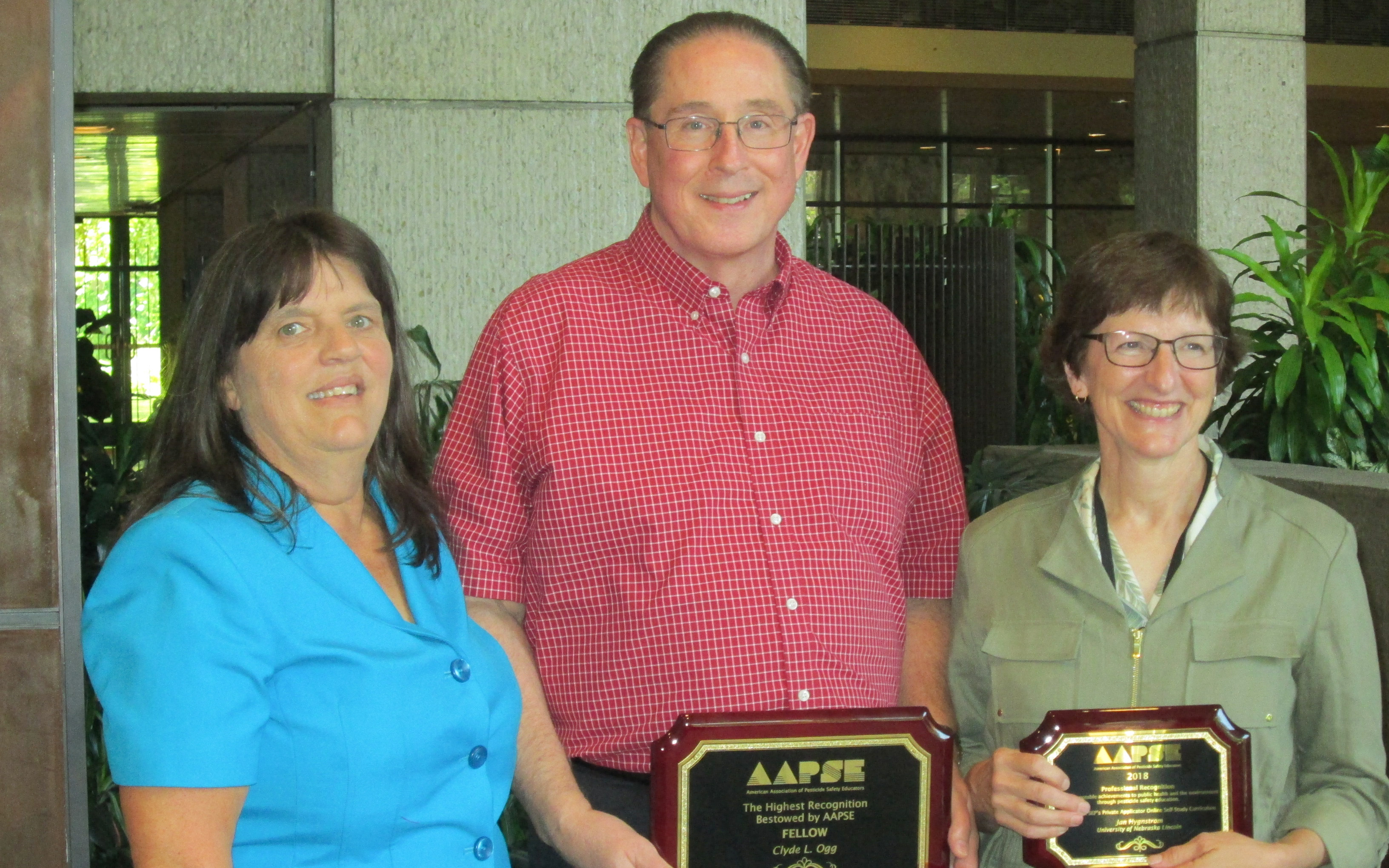 Nebraska award winners were Clyde Ogg (middle) and Jan Hygnstrom