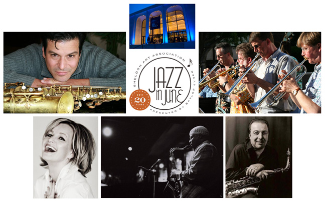 Pictured (clockwise from top) is the Sheldon Museum of Art; Nebraska Jazz Orchestra; Greg Abate; Gerald Dunn; Susie Thorne; and Joseph Vincelli.